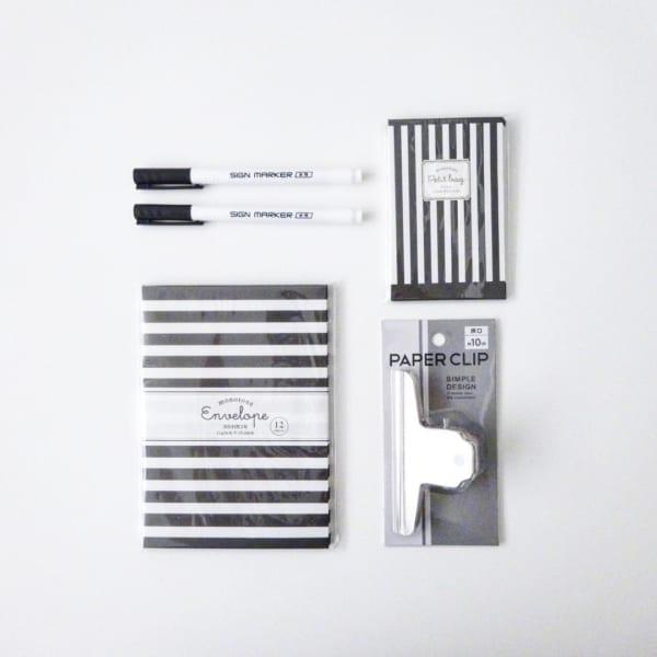 セリアのキュートな白黒デザイン文房具