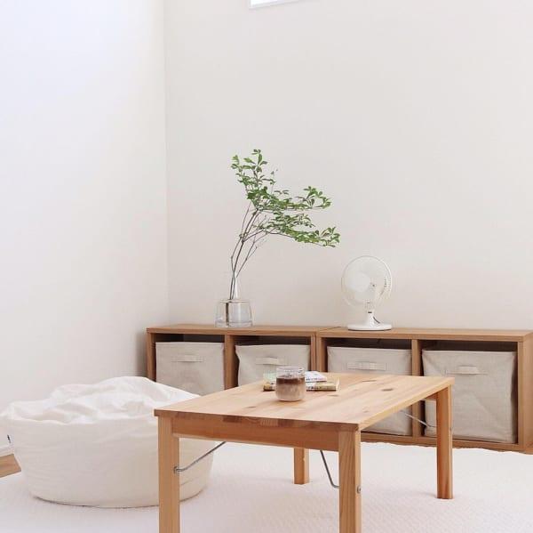 重心の低い家具でほっこり空間