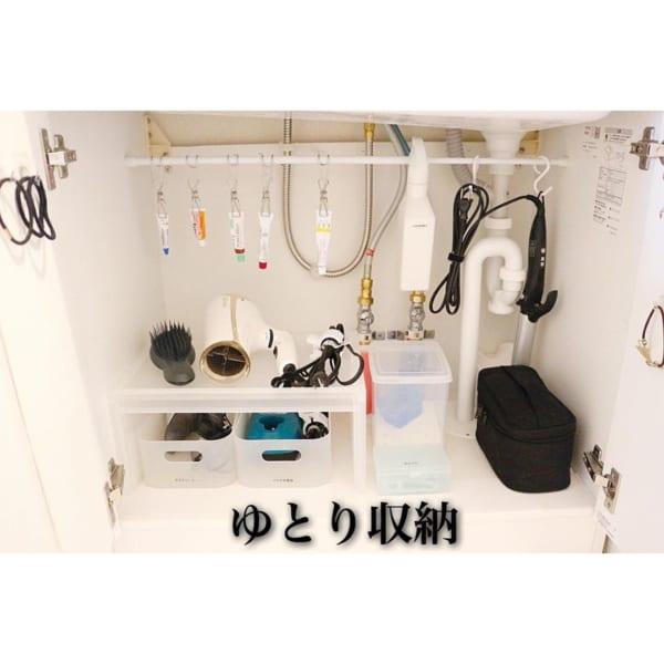 アイデア①突っ張り棒で洗面所収納