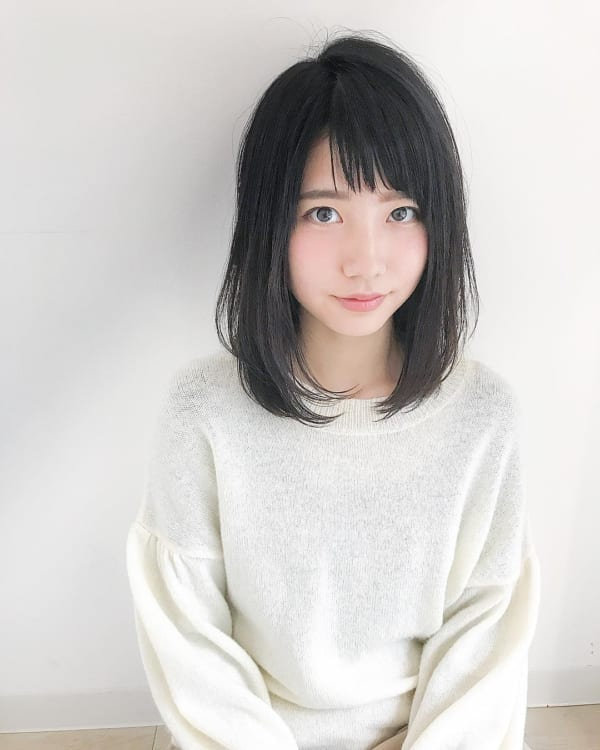 ぽっちゃり女子×黒髪×ロングボブ