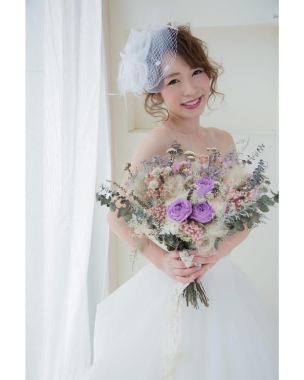 花嫁向け前髪ありの髪型①ふんわりヘア