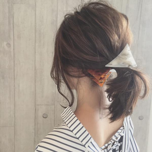 前髪なし ミディアムヘア アレンジ4