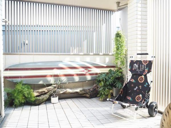 サーフボードで作るおしゃれなマリン風ベランダ