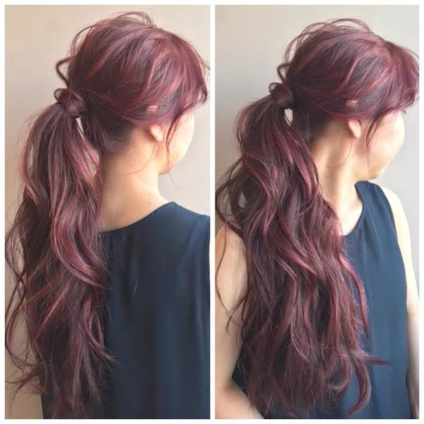 あったかピンク系の前髪ありロング