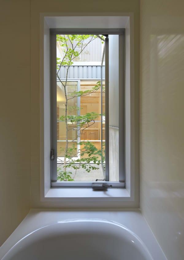 バスルームからも眺められる中庭