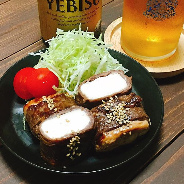天ぷらの献立に!付け合わせの豆腐牛肉巻き