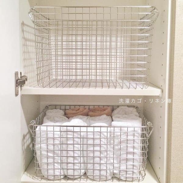 洗面所の棚にぴったりな無印のカゴ