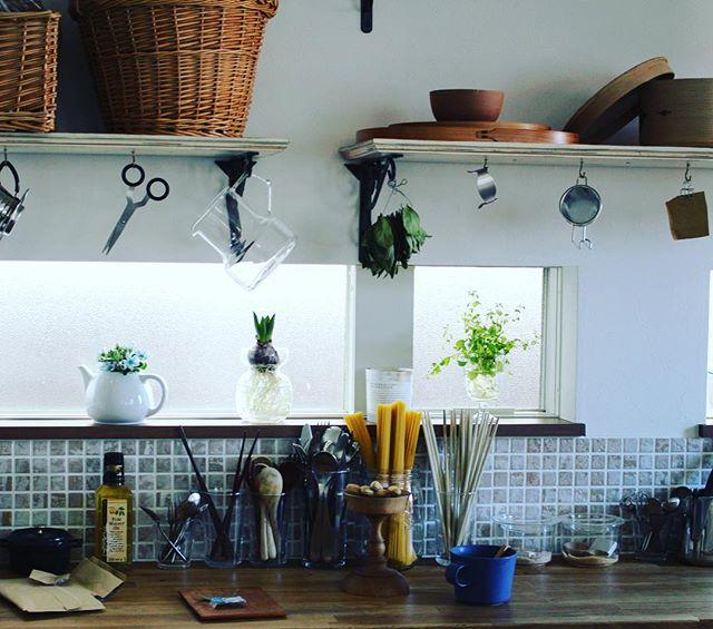 台所のインテリアになる素敵な棚でハンギング