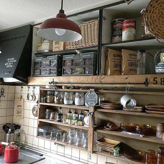 男前なカフェ風キッチンに似合う使い方