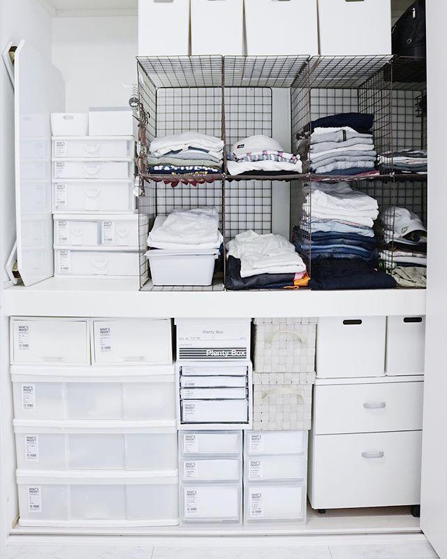 ワイヤーネットを活用した衣類収納3