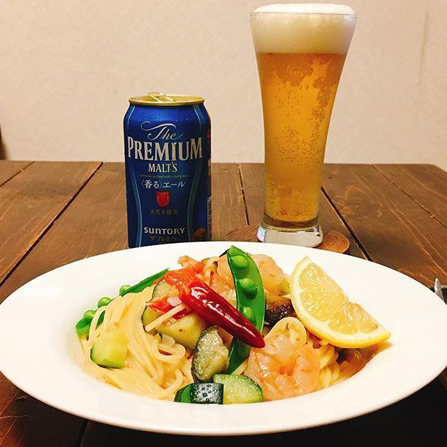 えびと夏野菜のペペロンチーノ