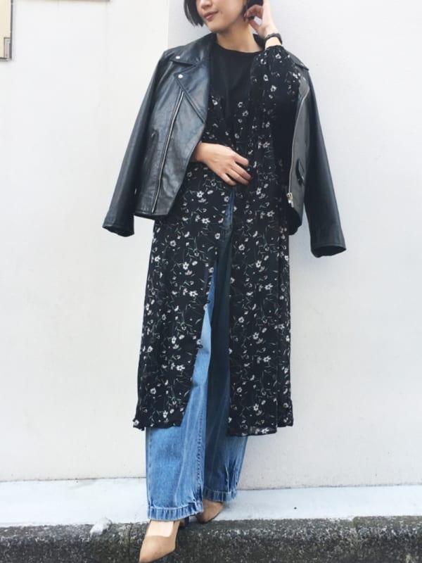 【2020春】黒のシャツワンピースコーデ5