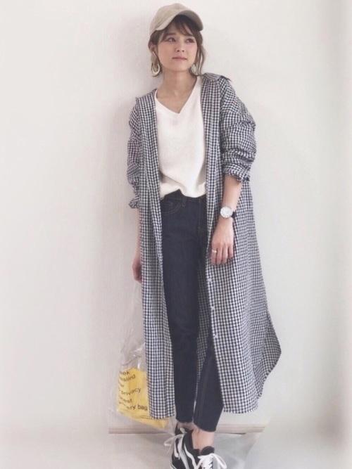 【2020春】ギンガムチェックシャツワンピースコーデ2