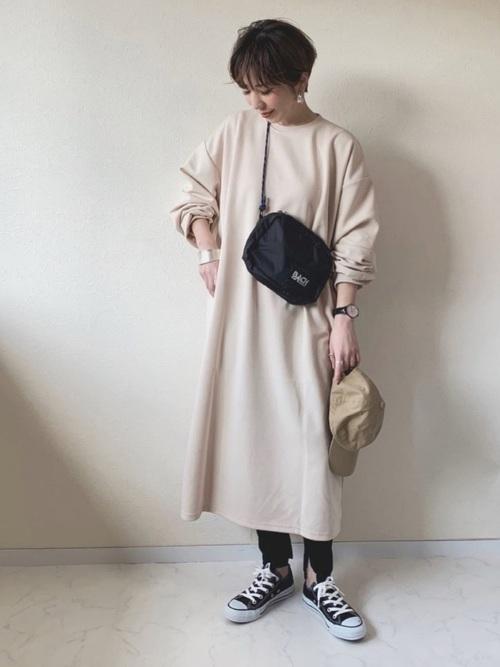 [Chaco closet] バルーンスリーブ ポケット付き スウェットワンピース