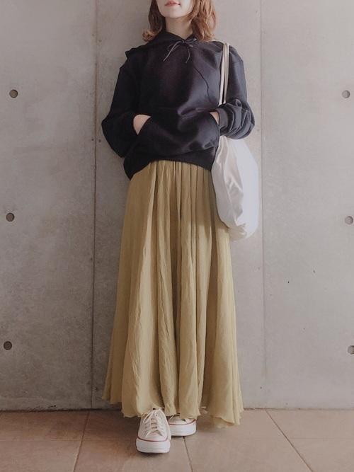 [titivate] スラブボリュームマキシスカート