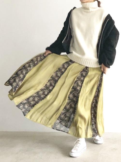 [LADYMADE] シャイニーフラワーギャザースカート