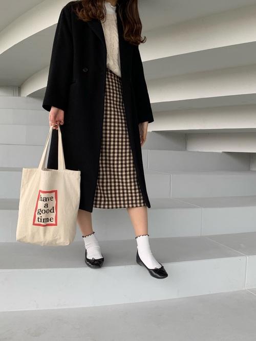 【2020春】ギンガムチェックのタイトスカートコーデ3