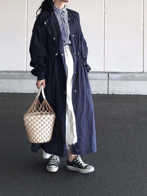 ボタンダウンシャツ×カットオフスカート