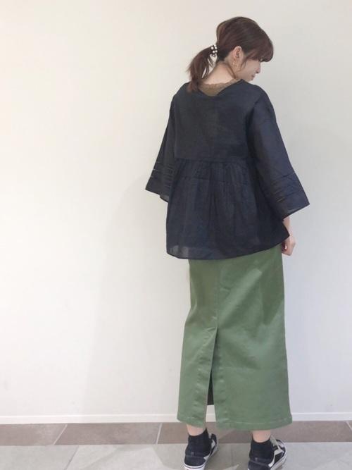 [AMERICAN HOLIC] 綿ツイルタイトロングスカート