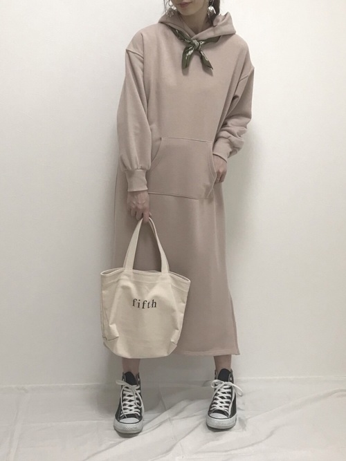 [natural couture] サイドWジップロングパーカーワンピース