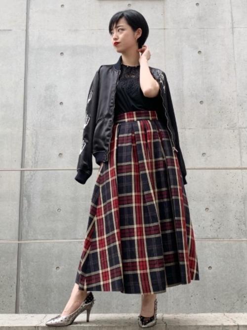[HYSTERIC GLAMOUR] タックロングスカート