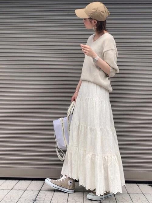 [STYLE BAR] 【STYLEBAR】エンブロイダリーティアードスカート
