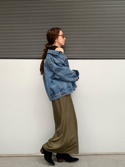 [Ungrid] ヴィンテージサテンフィットフレアスカート