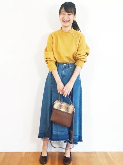 [haco!] デニムパネルプリーツスカート