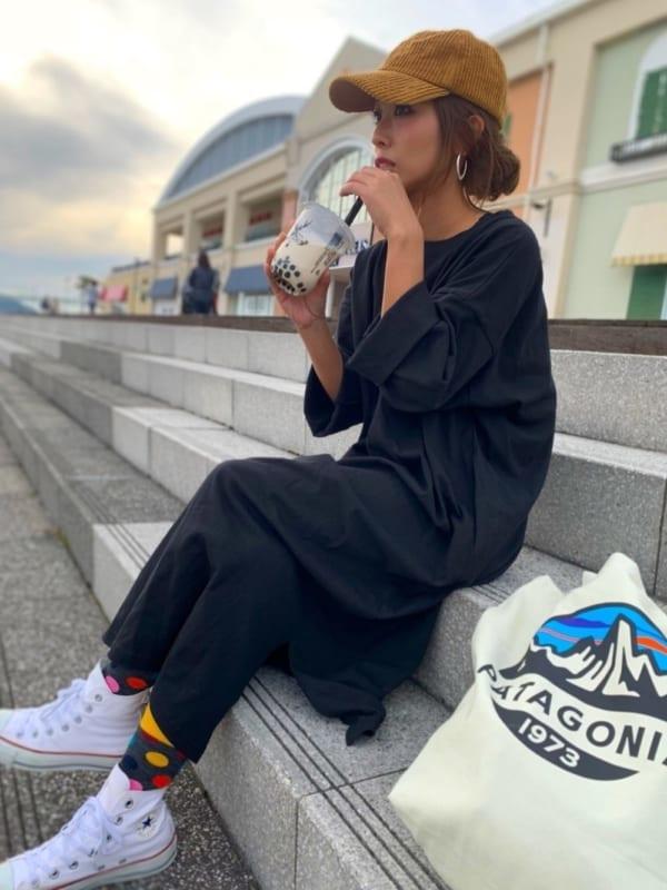 [coca] サイドスリットポケット付きカットソーワンピース