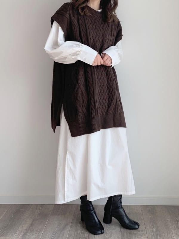 [mystic] ロングシャツワンピース