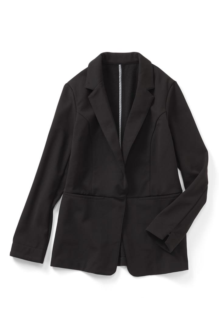 帯電防止がうれしい 裏起毛ジョーゼット素材であったかきれいなバレエフィット(R)ジャケット〈ブラック〉