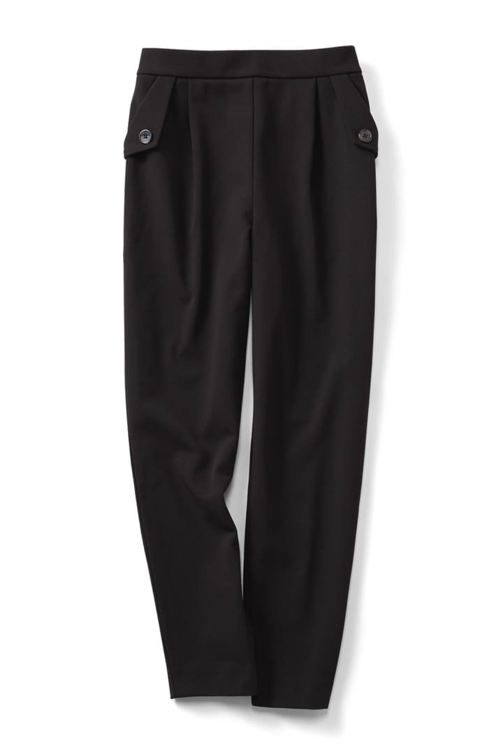 帯電防止がうれしい 裏起毛ジョーゼット素材であったかきれいなバレエフィット(R)パンツ〈ブラック〉