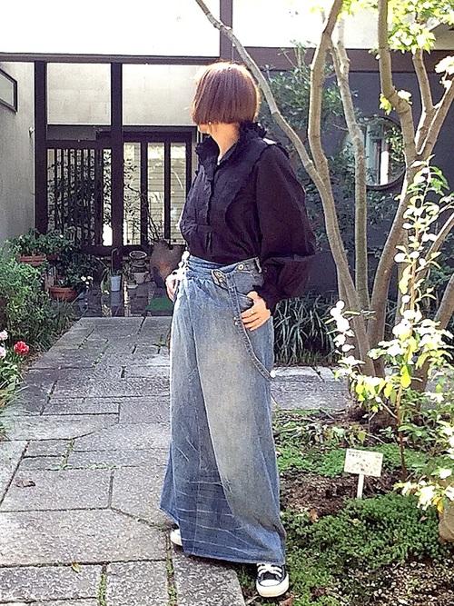 [antiqua] デニムサロペットスカート