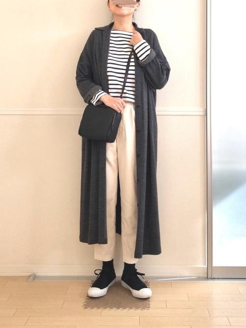 ボーダー+シャツ風ロングカーディガンコーデ