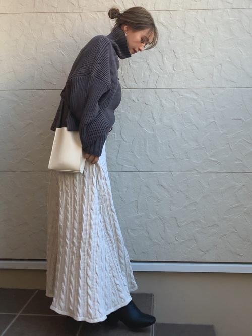 ボリュームニット×ニットフレアスカート