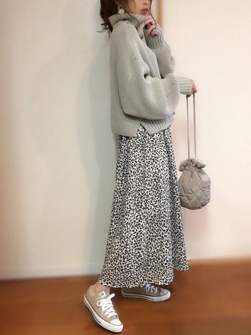 1[INGNI] 単色レオパード柄ギャザー/スカート