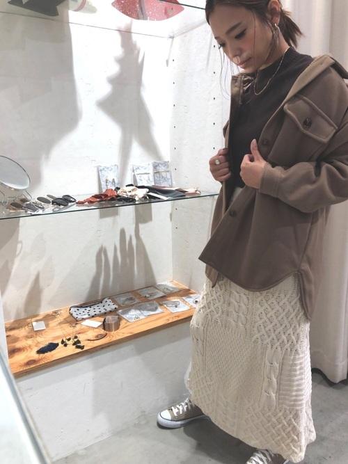 [YARD PLUS/AUNT MARIE'S] AUNT MARIE'S ケーブル編みニットロングスカート