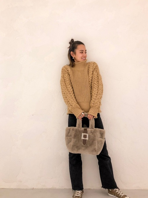 [FLAG by ALEXIA STAM] Original Buckle Eco Fur Tote Bag/オリジナルバックルエコファーバッグ