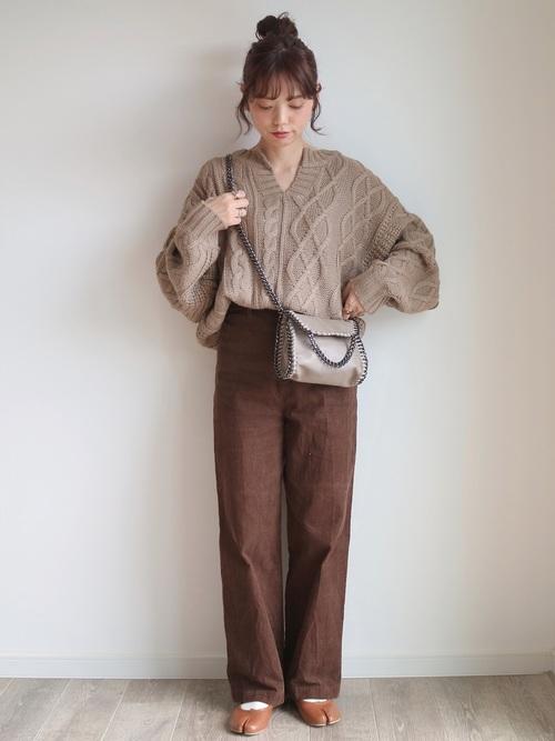 [titivate] ケーブル編みキーネックニットプルオーバー