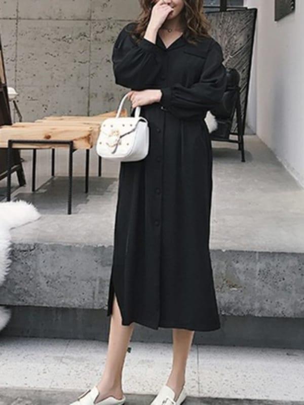 【2020春】黒のシャツワンピースコーデ