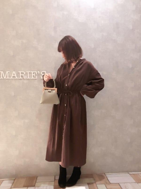 [YARD PLUS/AUNT MARIE'S] AUNT MARIE'S コーデュロイバンドカラーシャツワンピース