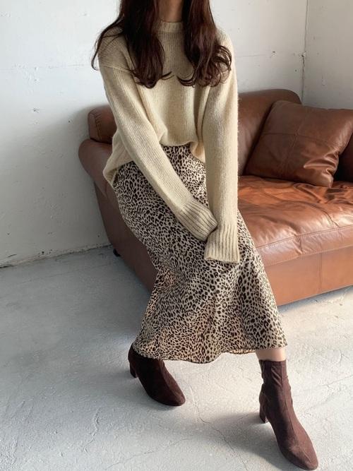 [I-SOOK] レオパード柄ロングフレアスカート