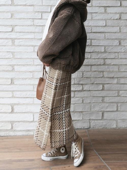 [CORNERS] 5ゲージチェック柄ニットナロースカート