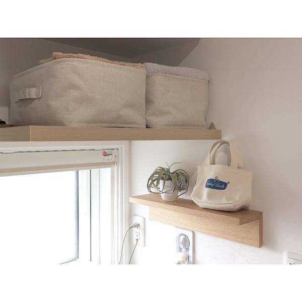洗面所に無印の棚をつけてタオル収納