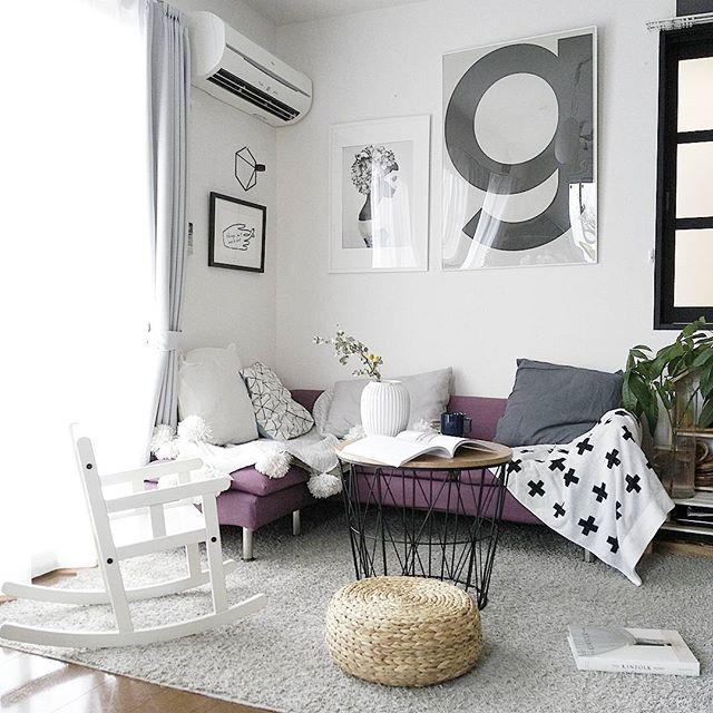 グレー×カラー家具がハイセンスなお部屋
