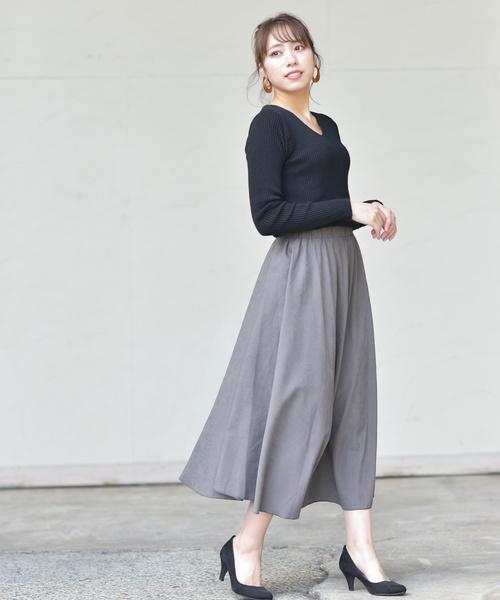 [rps] ツイルピーチ起毛ロングスカート