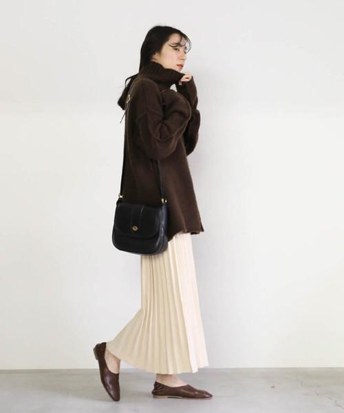 [select MOCA] プリーツニットスカート(ウエストゴム入りプリーツデザインひざ下丈ニットスカート)