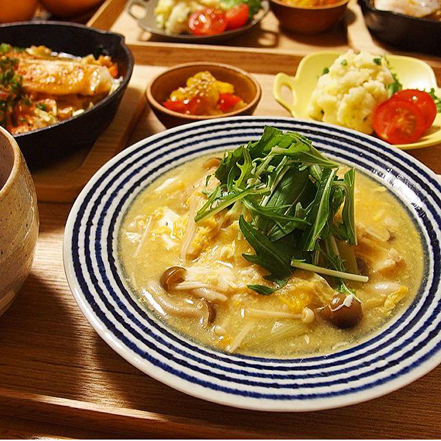 凍り豆腐の付け合わせ!ドリアとかき玉スープ