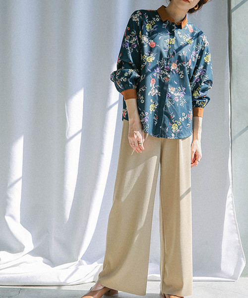 [select MOCA] 袖ポイントカラーヘリンボーン花柄ブラウスシャツ