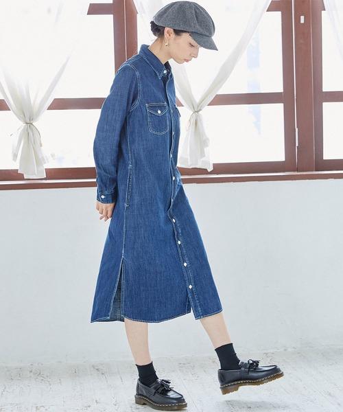 [Lee] ロングシャツ デニムワンピース